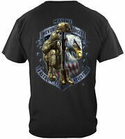 US Military Freedom Is Never Free USA Flag Eagle T-Shirt 100% Cotton Black