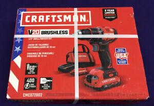 "Craftsman V20 Lithium Ion Brushless 1/2"" Drill/Driver Kit, Model No. CMCD720D2"