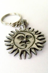 Moon and Sun pewter keyring 35mm wide  KR0172