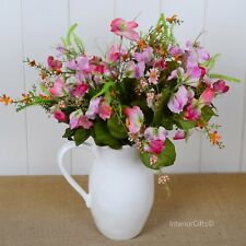 Faux Silk Flowers SWEET PEA BUNCH in MIXED SUMMER PINKS realistic artificial