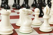 Extra Large, Extra Heavy Chess Set, Ivory Pieces & Red Vinyl Board