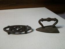 Cast Iron Trivet and Sad Iron Child Children Toy Set  Circa 1890s