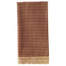 Country Primitive Burgundy Granny's Check Kitchen Hand Towel Dishtowel Rustic