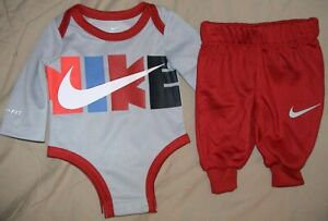 NIKE GRAY*RED*BLUE & BLACK 2 PIECE OUTFIT/BODYSUIT & PANTS-SIZE 6 MONTHS-NWT