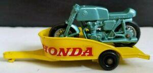 Matchbox Series No.38 Honda M/Cycle & Trailer Lesney England Motorcycle Vintage