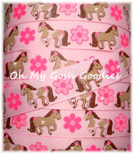 7/8 PRANCING PONY FLOWER GLITTER COWGIRL PONY HORSE GROSGRAIN RIBBON 4 BOW PINK
