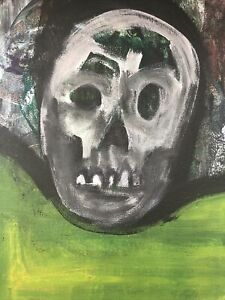 Hasworld ORIGINAL 10x12 PAINTING On CANVAS Skull  Abstract EXPRESSIONISM Art