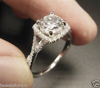 Vintage 14k White Gold Solitaire Diamond Engagement Rings Round Cut 2Ct Band New