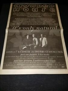 Crowded House It's Only Natural Rare Original UK Promo Poster Ad Framed!