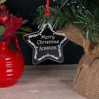 Personalised First Name Clear Acrylic Christmas Tree Star Decoration Bauble Gift