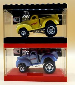 2 '40 WILLYS PU MUSCLE MACHINES 1/64 C02-16 & C02-22 WITH Stackers Cases