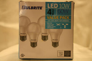 Bulbrite 774117 LED10A19/840/4PK/2 LED 10W A19 Dimmable Light Bulb, Medium/E26 4
