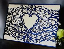 Pearl Navy Blue Love Heart Laser Cut Wedding Invitations Cards Insert Envelope