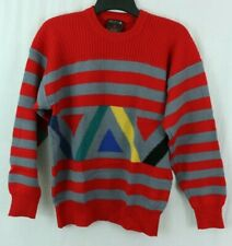 Vintage DEMETRE Pure Virgin Wool Ski Sweater Men's M Red Yellow Green Striped