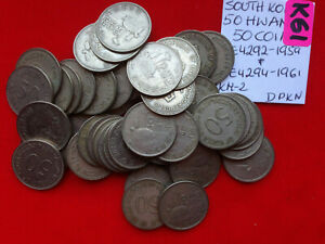 K61 South Korea Lot of 50 used Coins 50 Hwan 1959 & 1961 Iron-clad Turtle Boat