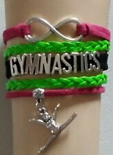 Gymnastics Sports Leather Charm Bracelet-Raspberry/Black/ Green-Adjustable -#299