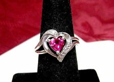 925 STERLING SILVER HEART SHAPE RUBY AND CRYSTAL STONES LOVE RING SIZE 7