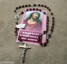 Chapelet dévotion Precieux Sang de Jésus avec notice  perles en plastique