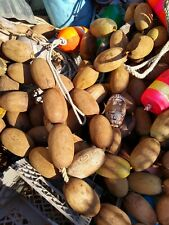 "10 Cedar Vintage, Fishing floats, Bristol Bay old salmon net floats ""corks"""
