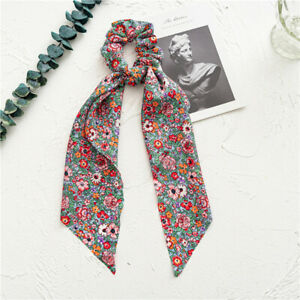 Women Boho Printed Ponytail Scarf Bow Elastic Scrunchies Long Ribbon Hair Rope