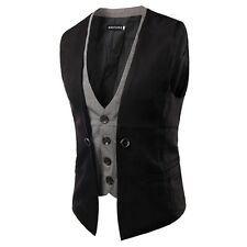 New Mens Jacket Suit Slim Fit Vest Casual Business Formal Vest Waistcoat Tops UK