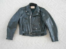 Vintage 60's 70's Excelled Leather Motorcycle Jacket Black Size 46 USA Made