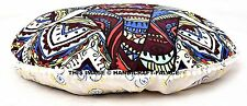 Indian Elephant Mandala Round Pets Bed Floor Pillow Ottoman Poufs Cover Handmade