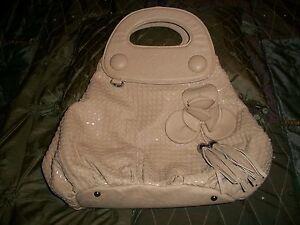Fashion Tan Faux Leather Dot & Layered Flower Handbag NWOT