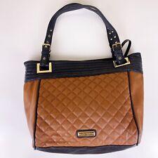 Steve Madden Quilted Large Tote Brown Black Shoulder Bag Purse Gold Hardware