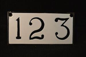 Antique Porcelain House Room Number Plaque Placard Beautiful Number 123