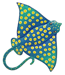 Coastal Teal Blue Spotted Eagle Ray Sea Life 13 Inch Haitian Metal Wall Hanging