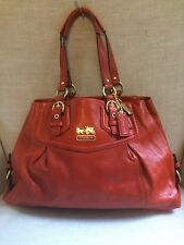 Coach Madison Mia Shoulder Leather Carryall Large Orange w Dust Bag 14574, EUC