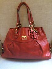 Coach Madison Mia Shoulder Leather Carryall Large Orange w Dust Bag 14574, EUC