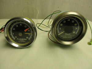 Sun Super 2 & Pro Racing Tach Combo Chevy Tachometer Blue Line LOT 8000 Rpm