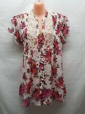 TARGET LACE WHITE PINK PLEATED BUTTON UP TOP SMART CASUAL PARTY WEAR SIZE 12