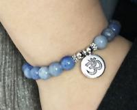 8mm Blue jade Bracelet Monk 7.5inches Unisex Sutra cuff Handmade Reiki