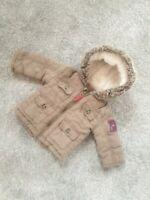Stunning Baby Boys Khaki Green Coat 6-9 Hooded Zip Up Bomber jacket padded L