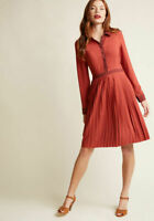 ModCloth Just My Typist Long Sleeve Shirt Pleated Dress in Brick Size Small