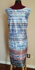 Leslie Fay women's dress. Gorgeous and classy colorful Blue/spice SZ 24W NWT