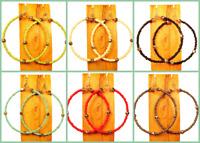 Set of 6 PCS Handmade Beaded BOHO Hoop Silver Tone Earrings 6 COLORS WHOLESALE