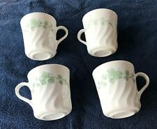 """Corelle CALLAWAY Ivy Set of 4  3"""" inch  high Cups Embossed Swirl Green Rim  Used"""