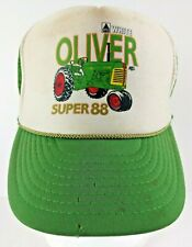 Vintage White Oliver Super 88 Tractor Snap Back Trucker Farmer Hat