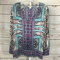 Lucky Brand womens Long Sleeve Semi Sheer Paisley Print V Neck Blouse size M