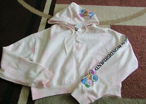 Disney Alice In Wonderland Light Pink Tie-Dye Crop Sweatshirt Hoodie Size L NEW