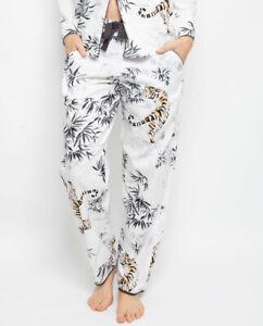 Cyberjammies Pyjama Pants Women Willow Tiger Print White Grey Mix