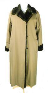 RAINCHEETAHS by NAMAN Beige Heavy Weight Long Women Overcoat Faux Fur Lined Sz 8