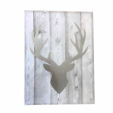Stag Head LED Wall Art Canvas Silver Grey Rustic Wood Pallet Effect