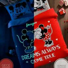 glowing mickey minnie mouse disney cotton duvet quilt cover set bedding