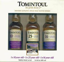 Tomintoul Triple Pack, Miniaturenset, Speyside, Single Malt Whisky, 3/5 cl.