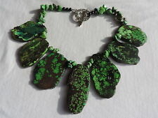 Vintage GENUINE GREEN TURQUOISE Necklace Jewelry (tr025)